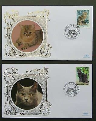 France Benham Cats Kittens 2 x First Day Covers 2 10 1999 Chartreux European