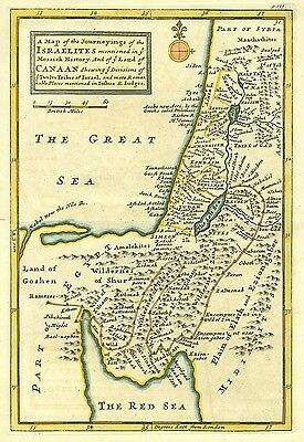 Genuine Antique map of Canaan and the Tribes of Israel, Middle East. H Moll 1739