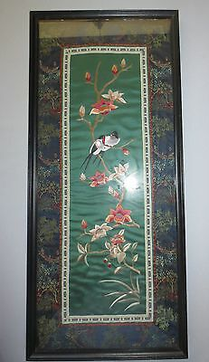 Vtg Framed Asian Chinese Oriental Silk Embroidery Birds Art Textile Tapestry