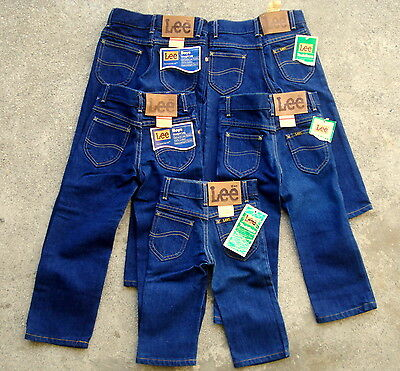 Lot of 5 Vtg 70's 80's LEE Riders kids jeans Size 1~ 6 yellow stitch dead stock