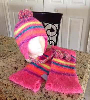 Girls Claire's Pink Teal Beanie Hat Infinity Fuzzy Scarf Set New Gift