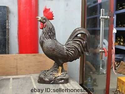 27 China FengShui Bronze Gilt Attract Wealth Yuanbao cock rooster Chicken Statue