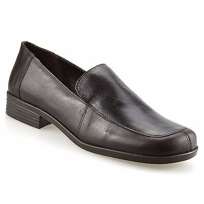 Ladies Womens Leather Flat Slip On Loafers Smart Office Work Pumps Shoes Size