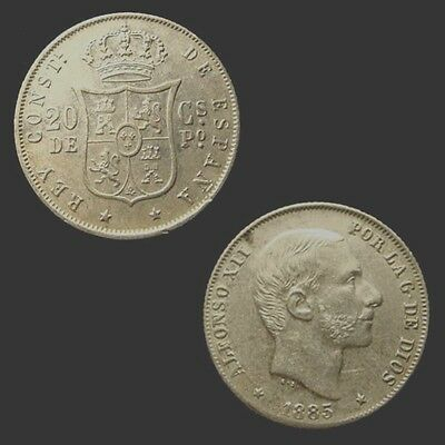 PHILIPPINES. ALFONSO XII. Silver 20 CENTIMOS 1885. Choice.