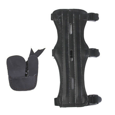 Archery Arm Guard 3 Strap Shooting Arm Safety Protector Gear + Finger Guard