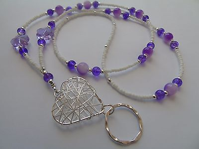 Handmade Beaded Wire Heart Spectacle / Glasses Chain Holder / Necklace.