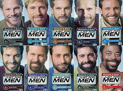 3 x Just For Men Barbe & Moustache Gel Coloration Cheveux Teinture Triple Pack