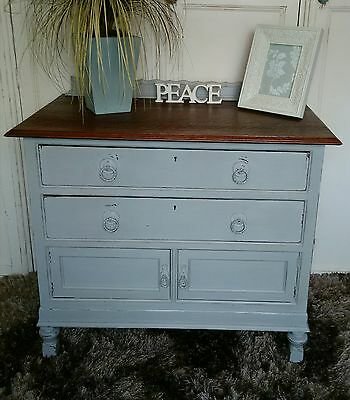 Shabby Chic Vintage Sideboard Cabinet 2 Drawers Cupboard Painted Grey