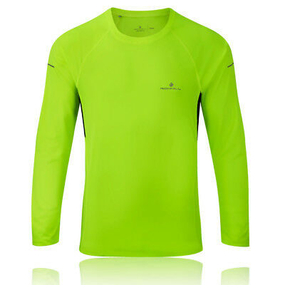 Ronhill Pursuit Mens Yellow Crew Neck Long Sleeve Sports Reflective Running Top