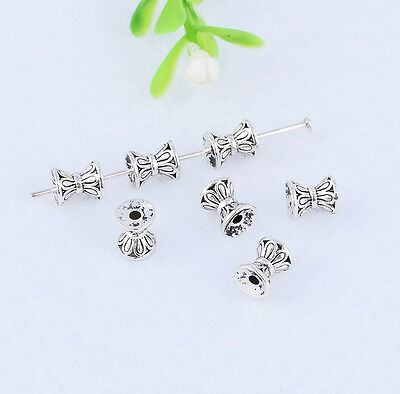 30pcs Metal Tibetan silver Solid Hourglass Loose Spacer Beads Jewelry Making