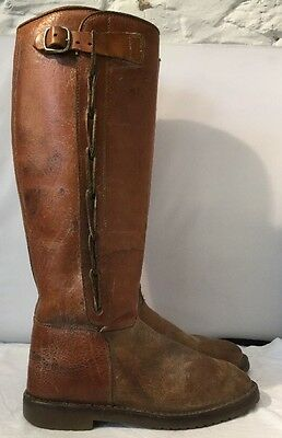 Retro Light Brown Leather Long Riding/ Equestrian Boots Size 6.5