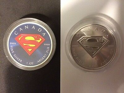 SUPERMAN Collection. 1oz Silver Colorized Superman &1oz Silver Superman Coin