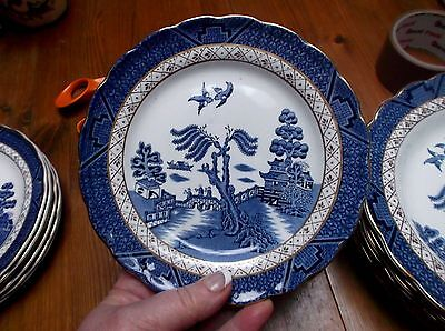 Booths Real Old Willow Pattern Blue White Gold 3x Side Plates 17cm
