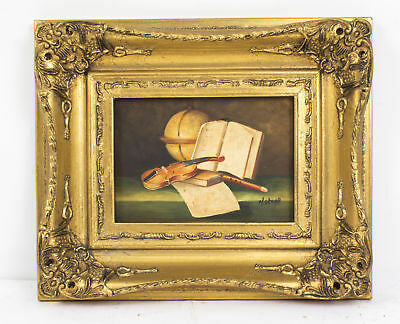 Oil Painting of a Still life with an Atlas Giltwood Frame