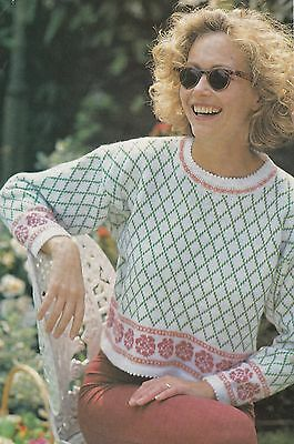 Rose Patterned Sweater  Pattern For Machine Knitting