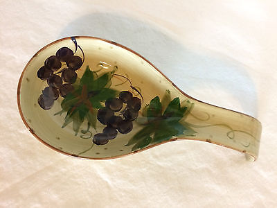 SPOON REST Savio by TABLETOPS Unlimited grape hand painted EUC GRAPES