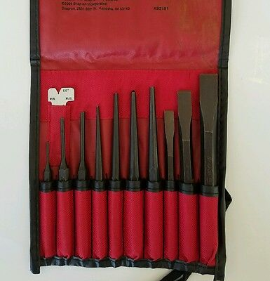 Snap On 11 Piece Punch & Chisel Set in kit bag PPC710BK *NEW*