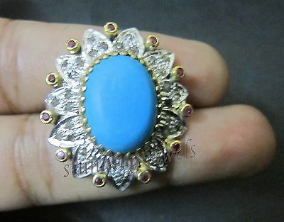 Victorian 1.40Ct Rose Cut Diamond Turquoise  Silver Ring