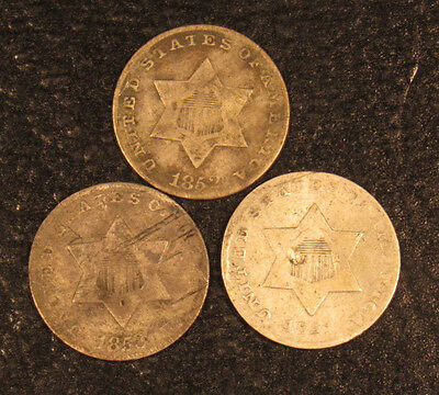 1851, 1852, 1853 Three Cent Silvers 3 Different Dates
