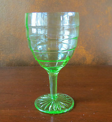 Anchor Hocking Green Depression Block Optic Thin Water Goblet(s)