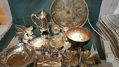 A job lot of 14 vintage silver plated items