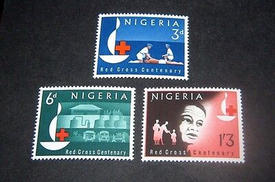 Q.E.II M/NH SET OF 3 NIGERIA 1963 RED CROSS STAMPS,,,ONLY 89p