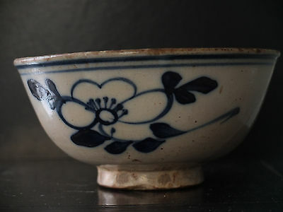 Large Ming or Qing  Peasant ware, Blue and White flower design bowl