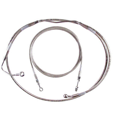 """Stainless Cable & Brake Line Bcs Kit 18"""" Apes 2014-2015 Harley Touring w/ABS"""