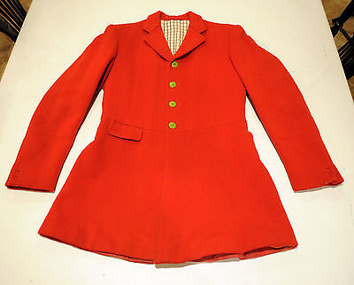 DEGE heavy FROCK melton hunt coat jacket MENS 40 foxhunting Pink Red Pinque