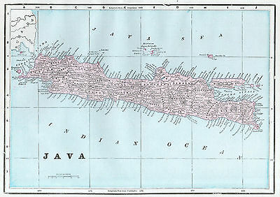 JAVA SUMATRA Indonesia Map Antique 1899 Original Southeast Asia Wall Decor