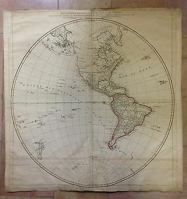 AMERICA PACIFIC OCEAN by D'ANVILLE 1751 ORIGINAL COPPER ENGRAVED MAP