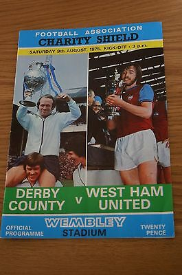 Derby County v West Ham Utd 1975 Charity Shield Programme