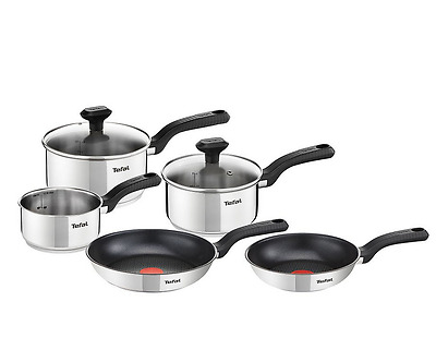 Tefal 5 Piece Pot/Pan Stainless Steel Non Stick Cookware Cooking Set Lid Kitchen