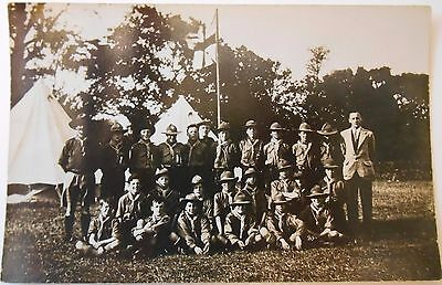 Vintage RP Postcard Noblehill School Scouts Children Group Camping Tent Dumfries