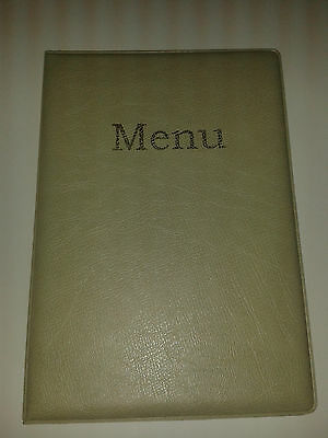 qty 30 --A5 MENU COVER/FOLDER IN LIGHT GREEN LEATHER LOOK PVC-