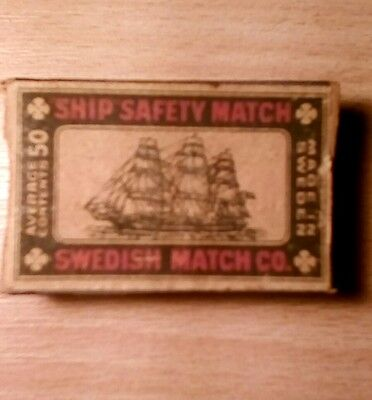 """Old Wooden """"SHIP SAFETY MATCHES"""", Swedish Match Co"""