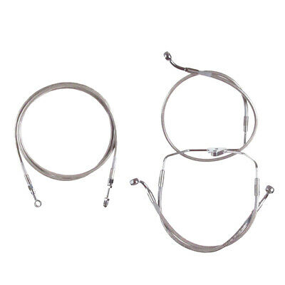 """Stainless +4"""" Cable & Brake Line Bsc Kit 2016 & Up Harley-Davidson Touring NoABS"""