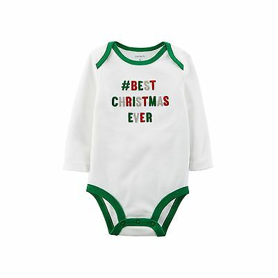 Carter's #Best Christmas Ever Baby Girl Boy One Piece Bodysuit NWT 3 months