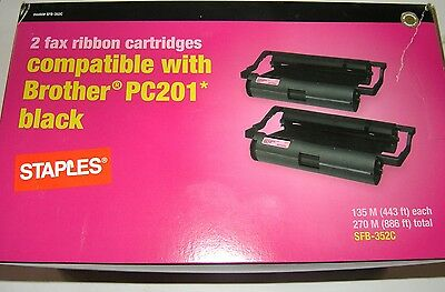 2 fax ribbon cartriges Brother PC-201 - black