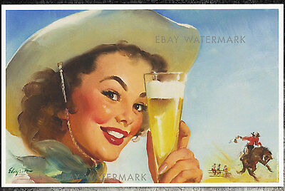 1950's Elvgren Authentic Pin-Up Poster Art Print Shiner Cowgirl Texas Beer 11x17