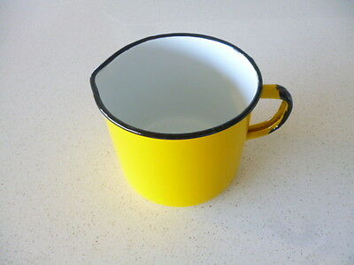 Old Vintage Enamel Yellow And Black Jug Made In Poland