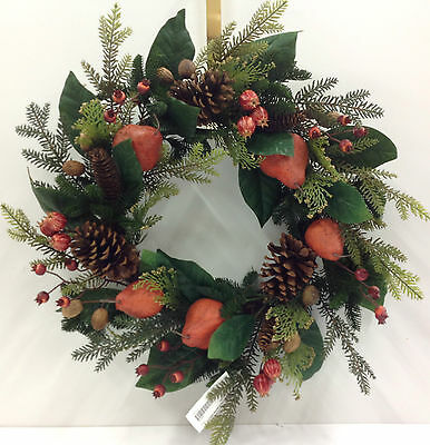 """Fall Wreath. Artificial Pears/Pods/Leaves/Berries.  22"""""""