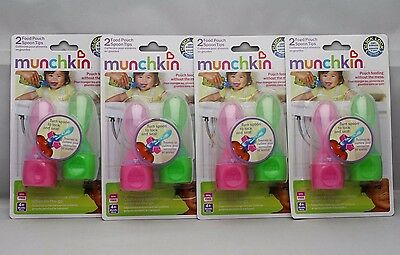 (4x) Munchkin Click Lock Food Pouch Spoon Tips, 2 Count (8 total) in Pink/Green