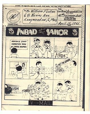 "Original WWII V Mail SeaBees Cartoon - See Scan!! Approx 5"" x 4 1/4"" Original!"