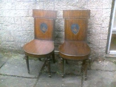 Impressive Pair Of Georgian Mahogany Hall Chairs Painted Coat of Arms £375!