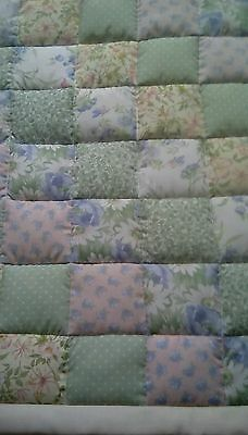 Pram / Crib Quilt - Pale Green/Pink/Blue/cream Shabby Chic Patchwork