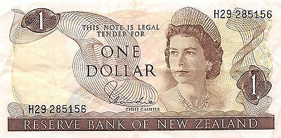 New Zealand  $1  ND. 1977  P 163  Series H29  Que. II Circulated Banknote WNS16J