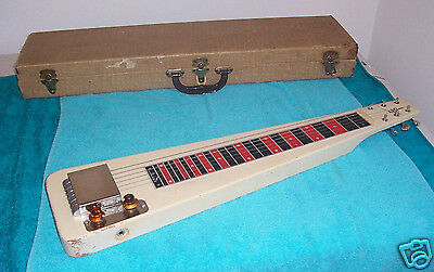 1950's Alamo Jet  Lap steel guitar 6 string w/ tweed case  VG Cond.  Supro Style