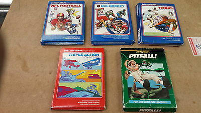 ^ Lot of 5 Intellivision Games, All in box, Pitfall, Football, Tennis etc...