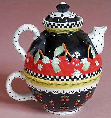 """Mary ENGELBREIT """"Very Cherry"""" TEA FOR ONE Stacked Teapot & Teacup Michel & Co"""